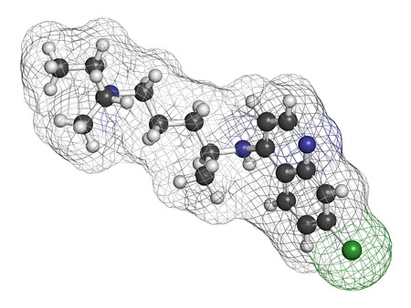 immunosuppressant: Chloroquine malaria drug molecule. Used to treat and prevent malaria. Also used for antiviral and immunosuppressant properties. Atoms are represented as spheres with conventional color coding: hydrogen (white), carbon (grey), chlorine (green), nitrogen (b Stock Photo