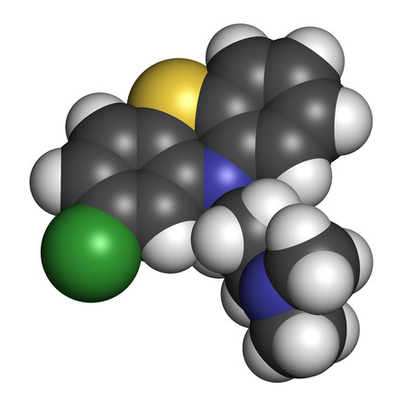 Chlorpromazine (CPZ) antipsychotic drug molecule. Used to treat schizophrenia. Atoms are represented as spheres with conventional color coding: hydrogen (white), carbon (grey), chlorine (green), sulfur (yellow), nitrogen (blue). Stock Photo - 26767989