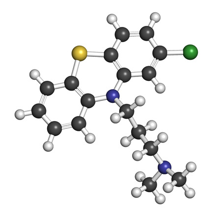 Chlorpromazine (CPZ) antipsychotic drug molecule. Used to treat schizophrenia. Atoms are represented as spheres with conventional color coding: hydrogen (white), carbon (grey), chlorine (green), sulfur (yellow), nitrogen (blue). Stock Photo - 26767991