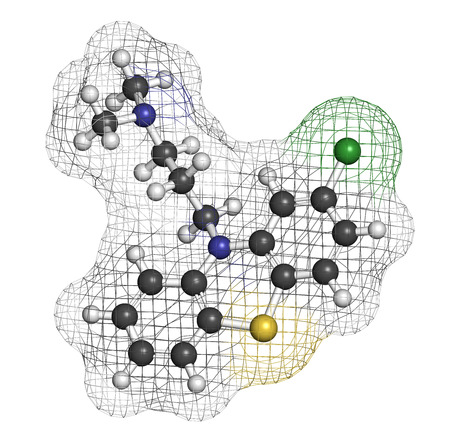 Chlorpromazine (CPZ) antipsychotic drug molecule. Used to treat schizophrenia. Atoms are represented as spheres with conventional color coding: hydrogen (white), carbon (grey), chlorine (green), sulfur (yellow), nitrogen (blue). photo