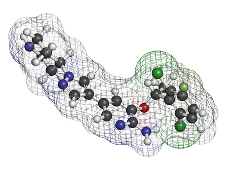 malignant neoplasm: Crizotinib anti-cancer drug molecule. Inhibitor of ALK and ROS1 proteins. Atoms are represented as spheres with conventional color coding: hydrogen (white), carbon (grey), oxygen (red), nitrogen (blue), fluorine (light green), chlorine (green).