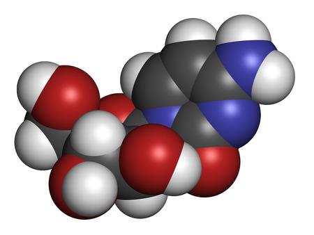 leucemia: Citarabina (citarabina, Ara-C) mol�cula de la droga de la quimioterapia. Se utiliza en el tratamiento de la leucemia mieloide aguda (LMA), leucemia linfoc�tica aguda (ALL) y el linfoma. Los �tomos se representan como esferas con codificaci�n convencional de color: hidr�geno (blanco), Carbo