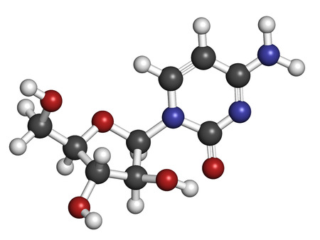 chemotherapeutic: Cytarabine (cytosine arabinoside, Ara-C) chemotherapy drug molecule. Used in treatment of acute myeloid leukemia (AML), acute lymphocytic leukemia (ALL) and lymphoma. Atoms are represented as spheres with conventional color coding: hydrogen (white), carbo Stock Photo