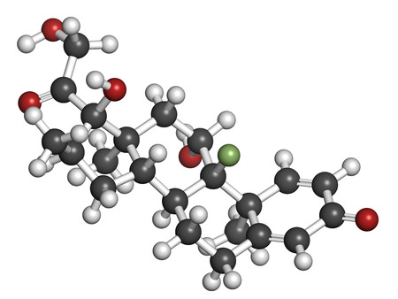 myeloma: Dexamethasone glucocorticoid drug. Steroid drug with anti-inflammatory and immunosuppressant properties. Atoms are represented as spheres with conventional color coding: hydrogen (white), carbon (grey), fluorine (light green), nitrogen (blue).