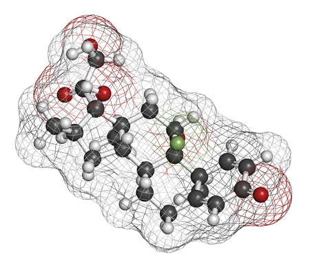 immunosuppressant: Dexamethasone glucocorticoid drug. Steroid drug with anti-inflammatory and immunosuppressant properties. Atoms are represented as spheres with conventional color coding: hydrogen (white), carbon (grey), fluorine (light green), nitrogen (blue).