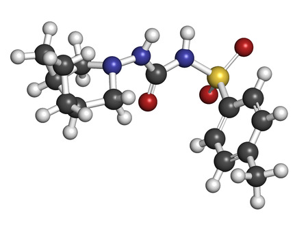 apoptosis: Gliclazide diabetes drug molecule. Sulfonylurea class anti-diabetic agent. Atoms are represented as spheres with conventional color coding: hydrogen (white), carbon (grey), oxygen (red), nitrogen (blue), sulfur (yellow).