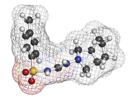 Gliclazide diabetes drug molecule. Sulfonylurea class anti-diabetic agent. Atoms are represented as spheres with conventional color coding: hydrogen (white), carbon (grey), oxygen (red), nitrogen (blue), sulfur (yellow). photo