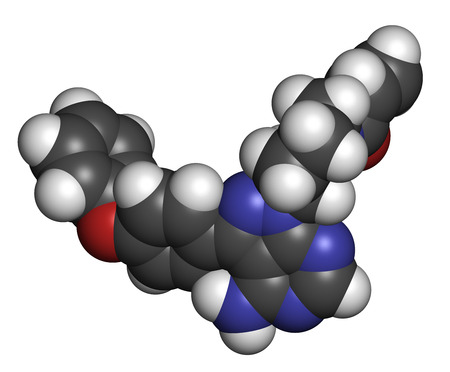 lymphoma: Ibrutinib cancer drug molecule. Used in treatment of mantle cell lymphoma and chronic lymphocytic leukemia (CLL). Atoms are represented as spheres with conventional color coding: hydrogen (white), carbon (grey), oxygen (red), nitrogen (blue). Stock Photo