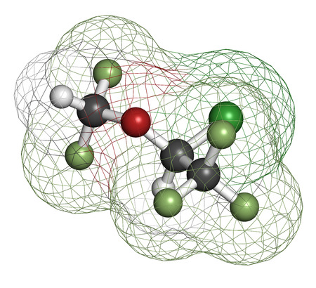 analgesia: Isoflurane anesthetic drug molecule. Used for inhalational anesthesia during surgery. Atoms are represented as spheres with conventional color coding: hydrogen (white), carbon (grey), oxygen (red), fluorine (light green), chlorine (green).