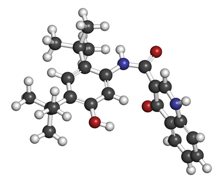 cystic fibrosis: Ivacaftor cystic fibrosis drug molecule. Atoms are represented as spheres with conventional color coding: hydrogen (white), carbon (grey), oxygen (red), nitrogen (blue).