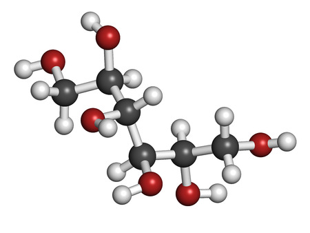 osmotic: Mannitol (mannite, manna sugar) molecule. Used as sweetener, drug, etc. Atoms are represented as spheres with conventional color coding: hydrogen (white), carbon (grey), oxygen (red). Stock Photo