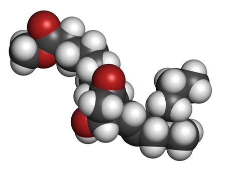 gynaecology: Misoprostol abortion inducing drug molecule. Prostaglandin E1 (PGE1) analogue also used to treat missed miscarriage, induce labor, etc. Atoms are represented as spheres with conventional color coding: hydrogen (white), carbon (grey), oxygen (red). Stock Photo