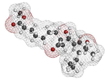 poronienie: Mizoprostol aborcji indukcji cząsteczki leku. Prostaglandyny E1 (PGE1) analogowe wykorzystywane także do leczenia nieodebrane poronienie, wywołanie porodu, itd. Atomy są reprezentowane sfer z konwencjonalnego kodowania kolorów: wodór (biały), węgiel (szary), tlen (czerwony). Zdjęcie Seryjne