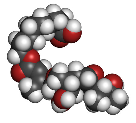 bacteriostatic: Mupirocin (pseudomonic acid) antibiotic drug molecule. Used topically against gram-positive bacteria. Atoms are represented as spheres with conventional color coding: hydrogen (white), carbon (grey), oxygen (red). Stock Photo