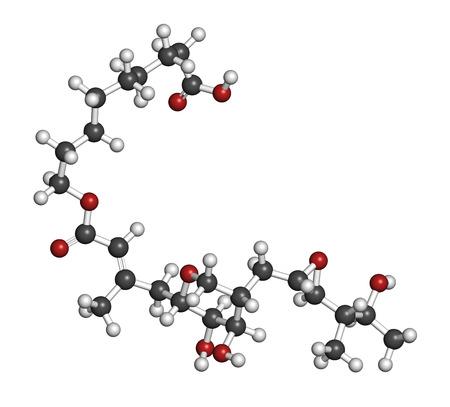 bactericidal: La mupirocina (�cido pseudom�nico) mol�cula del f�rmaco antibi�tico. Se utiliza por v�a t�pica contra las bacterias gram-positivas. Los �tomos se representan como esferas con codificaci�n convencional color: hidr�geno (blanco), el carb�n (gris), ox�geno (roja).