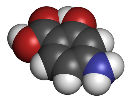 Para-aminosalicylic acid drug molecule. Used in treatment of tuberculosis and inflammatory bowel disease (ulcerative colitis, Crohns disease). Atoms are represented as spheres with conventional color coding: hydrogen (white), carbon (grey), oxygen (red), Stock Photo