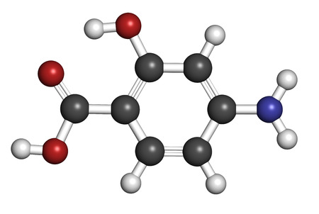 inflammatory bowel disease: Para-aminosalicylic acid drug molecule. Used in treatment of tuberculosis and inflammatory bowel disease (ulcerative colitis, Crohns disease). Atoms are represented as spheres with conventional color coding: hydrogen (white), carbon (grey), oxygen (red), Stock Photo