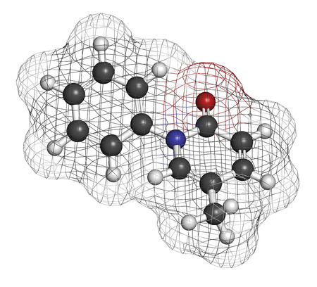 interstitial: Pirfenidone idiopathic pulmonary fibrosis (IPF) drug molecule. IPF is a rare lung disease. Atoms are represented as spheres with conventional color coding: hydrogen (white), carbon (grey), oxygen (red), nitrogen (blue).