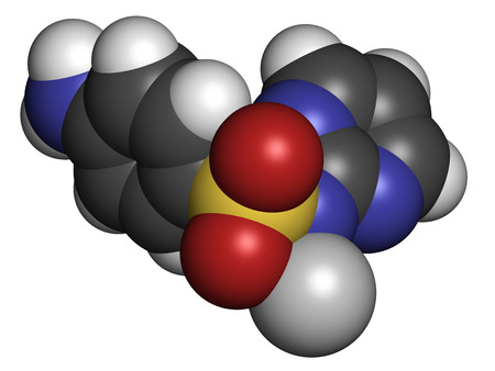 argentum: Silver sulfadiazine topical antibacterial drug molecule. Used in treatment of wounds and burns. Atoms are represented as spheres with conventional color coding: hydrogen (white), carbon (grey), oxygen (red), nitrogen (blue), sulfur (yellow), silver (silve Stock Photo
