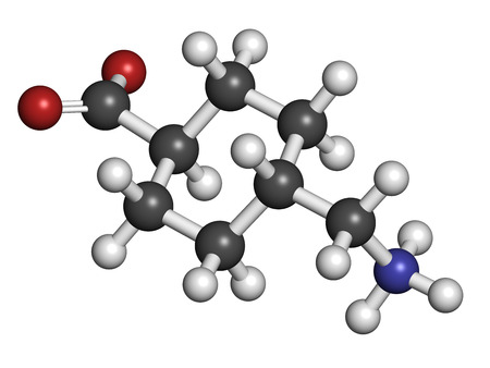 Tranexamic acid antifibrinolytic drug molecule. Prevents excessive bleeding, e.g. during surgery. Atoms are represented as spheres with conventional color coding: hydrogen (white), carbon (grey), oxygen (red), nitrogen (blue).