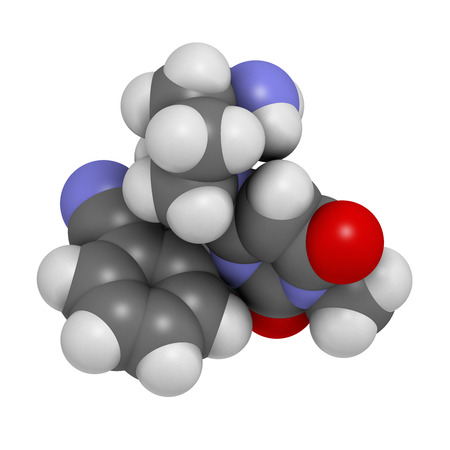 glucagon: Alogliptin diabetes drug molecule. Belongs to dipeptidyl peptidase 4 (DPP-4) or gliptin class of antidiabetic medicines. Atoms are represented as spheres with conventional color coding: hydrogen (white), carbon (grey), oxygen (red), nitrogen (blue). Stock Photo