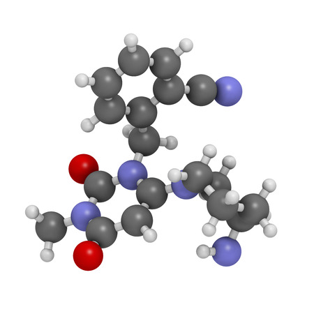 hypoglycemic: Alogliptin diabetes drug molecule. Belongs to dipeptidyl peptidase 4 (DPP-4) or gliptin class of antidiabetic medicines. Atoms are represented as spheres with conventional color coding: hydrogen (white), carbon (grey), oxygen (red), nitrogen (blue). Stock Photo