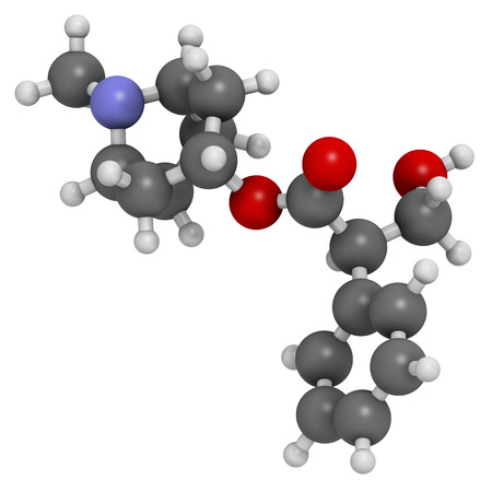 acetylcholine: Atropine deadly nightshade (Atropa belladonna) alkaloid molecule. Medicinal drug and poison also found in Jimson weed (Datura stramonium) and mandrake (Mandragora officinarum). Atoms are represented as spheres with conventional color coding: hydrogen (whi