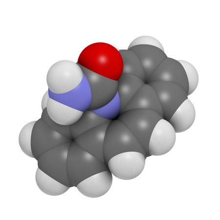 convulsion: Anticonvulsivante carbamazepina y estabilizador del �nimo mol�cula de la droga. Se utiliza para tratar la epilepsia (convulsiones), el trastorno bipolar y una serie de otras enfermedades. Los �tomos se representan como esferas con codificaci�n convencional color: hidr�geno (blanco), el carb�n (gris), oxyge