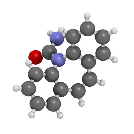 anticonvulsant: Carbamazepine anticonvulsant and mood stabilizing drug molecule. Used to treat epilepsy (convulsions), bipolar disorder and a number of other diseases. Atoms are represented as spheres with conventional color coding: hydrogen (white), carbon (grey), oxyge