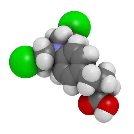 neoplasm: Chlorambucil leukemia drug molecule. Nitrogen mustard alkylating agent mainly used to treat chronic lymphocytic leukemia (CML). Atoms are represented as spheres with conventional color coding: hydrogen (white), carbon (grey), oxygen (red), nitrogen (blue)