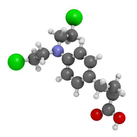 leucemia: Mol�cula de medicamento para la leucemia clorambucil. Nitr�geno agente alquilante mostaza utilizado principalmente para tratar la leucemia linfoc�tica cr�nica (LMC). Los �tomos se representan como esferas con codificaci�n convencional color: hidr�geno (blanco), el carb�n (gris), ox�geno (roja), nitr�geno (azul) Foto de archivo