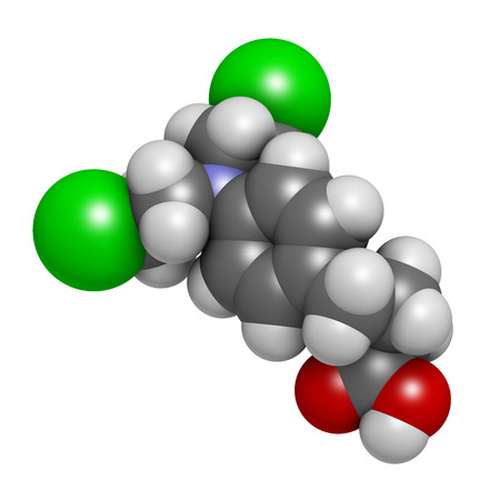 lymphoma: Chlorambucil leukemia drug molecule. Nitrogen mustard alkylating agent mainly used to treat chronic lymphocytic leukemia (CML). Atoms are represented as spheres with conventional color coding: hydrogen (white), carbon (grey), oxygen (red), nitrogen (blue)