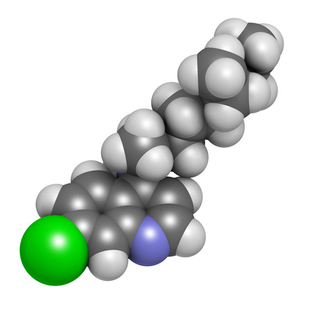 antirheumatic: Chloroquine malaria drug molecule. Used to treat and prevent malaria. Also used for antiviral and immunosuppressant properties. Atoms are represented as spheres with conventional color coding: hydrogen (white), carbon (grey), chlorine (green), nitrogen (b Stock Photo