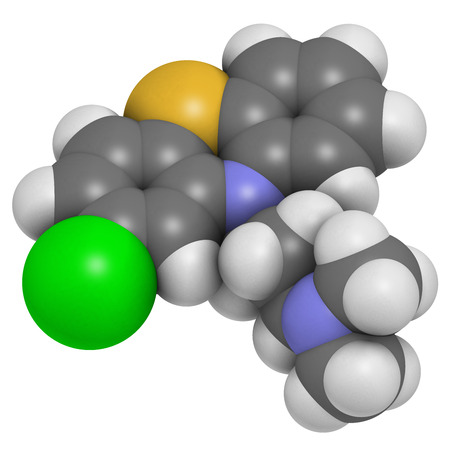 cns: Chlorpromazine (CPZ) antipsychotic drug molecule. Used to treat schizophrenia. Atoms are represented as spheres with conventional color coding: hydrogen (white), carbon (grey), chlorine (green), sulfur (yellow), nitrogen (blue). Stock Photo