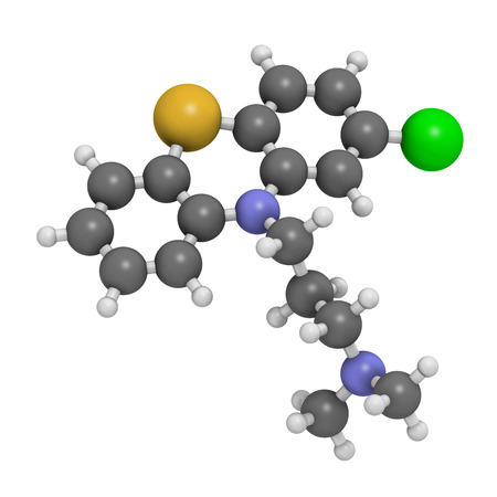 Chlorpromazine (CPZ) antipsychotic drug molecule. Used to treat schizophrenia. Atoms are represented as spheres with conventional color coding: hydrogen (white), carbon (grey), chlorine (green), sulfur (yellow), nitrogen (blue). Stock Photo