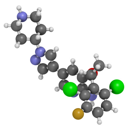 Crizotinib anti-cancer drug molecule. Inhibitor of ALK and ROS1 proteins. Atoms are represented as spheres with conventional color coding: hydrogen (white), carbon (grey), oxygen (red), nitrogen (blue), fluorine (gold), chlorine (green). Stock Photo