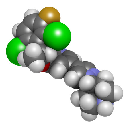 neoplasm: Crizotinib anti-cancer drug molecule. Inhibitor of ALK and ROS1 proteins. Atoms are represented as spheres with conventional color coding: hydrogen (white), carbon (grey), oxygen (red), nitrogen (blue), fluorine (gold), chlorine (green). Stock Photo