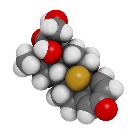 myeloma: Dexamethasone glucocorticoid drug. Steroid drug with anti-inflammatory and immunosuppressant properties. Atoms are represented as spheres with conventional color coding: hydrogen (white), carbon (grey), fluorine (gold), nitrogen (blue). Stock Photo
