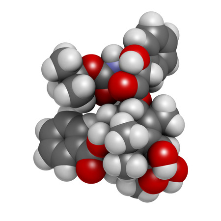 Docetaxel cancer chemotherapy drug molecule. Taxane class drug used in treatment of breast, prostate, lung and ovarian cancer (etc.) Atoms are represented as spheres with conventional color coding: hydrogen (white), carbon (grey), oxygen (red), nitrogen ( photo