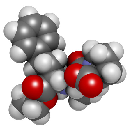 inhibitor: Enalapril high blood pressure drug molecule. Angiotensin Converting Enzyme (ACE) inhibitor used in treatment of hypertension. Atoms are represented as spheres with conventional color coding: hydrogen (white), carbon (grey), oxygen (red), nitrogen (blue).
