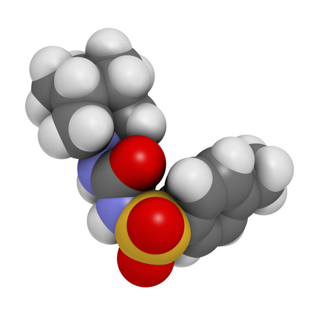 hypoglycemic: Gliclazide diabetes drug molecule. Sulfonylurea class anti-diabetic agent. Atoms are represented as spheres with conventional color coding: hydrogen (white), carbon (grey), oxygen (red), nitrogen (blue), sulfur (yellow).