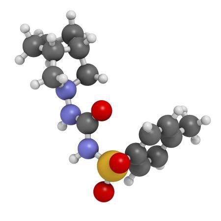 apoptosis: Mol�cula de medicamento para la diabetes gliclazida. Agente antidiab�tico clase sulfonilurea. Los �tomos se representan como esferas con codificaci�n convencional color: hidr�geno (blanco), el carb�n (gris), ox�geno (roja), nitr�geno (azul), azufre (amarillo).