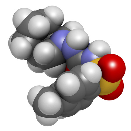 antidiabetic: Gliclazide diabetes drug molecule. Sulfonylurea class anti-diabetic agent. Atoms are represented as spheres with conventional color coding: hydrogen (white), carbon (grey), oxygen (red), nitrogen (blue), sulfur (yellow).