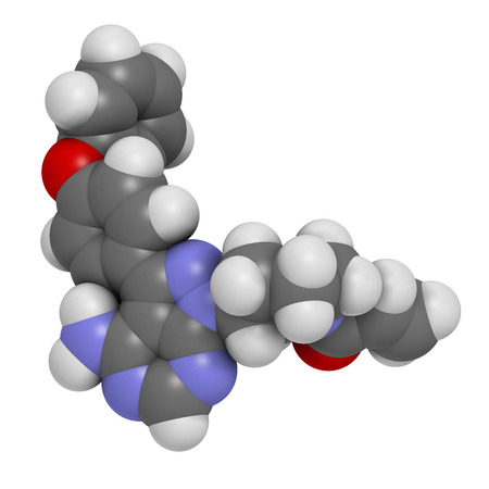 myeloma: Ibrutinib cancer drug molecule. Used in treatment of mantle cell lymphoma and chronic lymphocytic leukemia (CLL). Atoms are represented as spheres with conventional color coding: hydrogen (white), carbon (grey), oxygen (red), nitrogen (blue). Stock Photo
