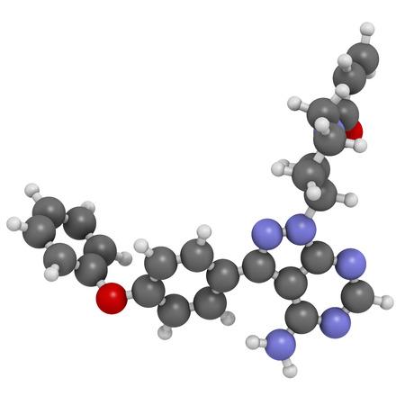 leucemia: Mol�cula de medicamento contra el c�ncer Ibrutinib. Se utiliza en el tratamiento del linfoma de c�lulas del manto y la leucemia linfoc�tica cr�nica (CLL). Los �tomos se representan como esferas con codificaci�n convencional color: hidr�geno (blanco), el carb�n (gris), ox�geno (roja), nitr�geno (azul). Foto de archivo