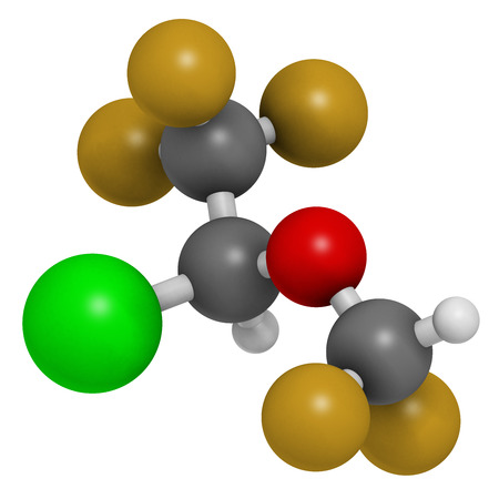 Isoflurane anesthetic drug molecule. Used for inhalational anesthesia during surgery. Atoms are represented as spheres with conventional color coding: hydrogen (white), carbon (grey), oxygen (red), fluorine (gold), chlorine (green).