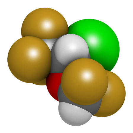 analgesia: Isoflurane anesthetic drug molecule. Used for inhalational anesthesia during surgery. Atoms are represented as spheres with conventional color coding: hydrogen (white), carbon (grey), oxygen (red), fluorine (gold), chlorine (green).