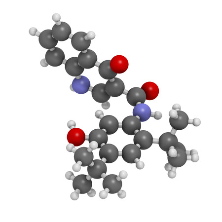 cystic: Ivacaftor cystic fibrosis drug molecule. Atoms are represented as spheres with conventional color coding: hydrogen (white), carbon (grey), oxygen (red), nitrogen (blue).