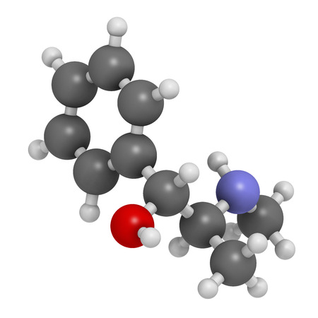 Ephedrine stimulant drug molecule. Alkaloid found in Ephedra plants. Used as stimulant, appetite suppressant, decongestant, etc. Atoms are represented as spheres with conventional color coding: hydrogen (white), carbon (grey), oxygen (red), nitrogen (blue photo