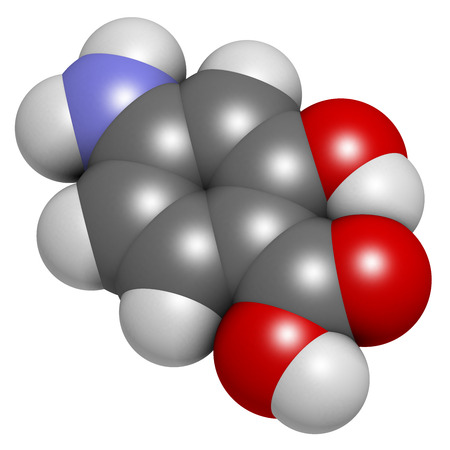 ulcerative: Para-aminosalicylic acid drug molecule. Used in treatment of tuberculosis and inflammatory bowel disease (ulcerative colitis, Crohns disease). Atoms are represented as spheres with conventional color coding: hydrogen (white), carbon (grey), oxygen (red), Stock Photo